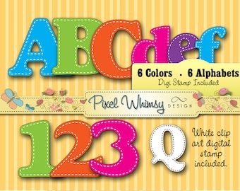 Alphabet Digital Stamp Clip Art - Bright Colors - 6 Alphabets - 6 77pp PDFs - 400 PNGs - For Parties or Classrooms