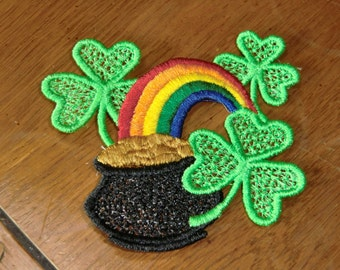 Embroidered Magnet - St. Patrick's Day - Pot of Gold & Rainbow