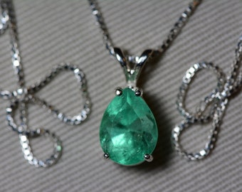 Emerald Necklace, Colombian Emerald Pendant 2.48 Carat Appraised 2,250.00, Sterling Silver, Certified Pear Cut Jewelry, Real May Birthstone