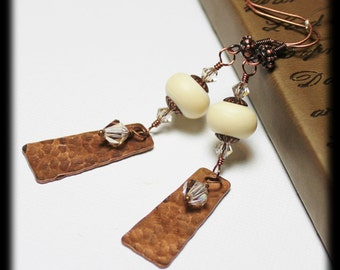 Vanilla Spice... Handmade Jewelry Earrings Beaded Lampwork Glass Crystal Ivory Cream Hammered Antique Copper Dangle Lightweight Long Earthy