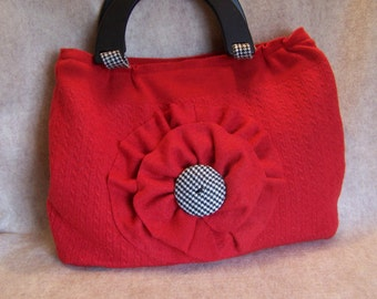 Red felted wool purse, classic!