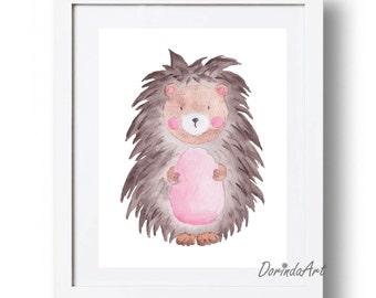Hedgehog print Watercolor Hedgehog printable art Nursery illustration Nursery Woodland animal art Pink brown DOWNLOAD 5x7 8x10 11x14 16x20