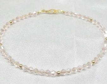 Pink Crystal Ankle Bracelet Pink Anklet Crystal Anklet 14k Gold Filled Anklet Easter Gift Easter Jewelry BuyAny3+Get1Free
