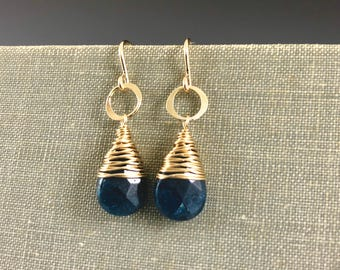Wrapped Apatite Teardop Earrings in Gold-Fill