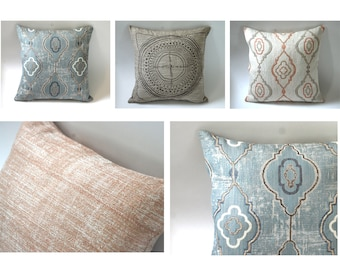 Barkcloth Collection // Throw Pillow Covers 18x18 + 10 More Sizes // Blue and Brown Pillows // Decorative Sofa Pillows