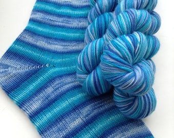 Hand dyed self striping merino sock yarn - Blue Monday