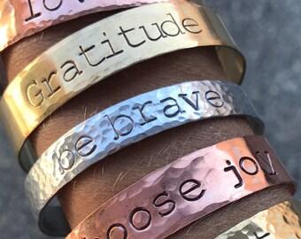Personalized Hand-Stamped Cuff, Mantra Bracelet, Custom Stamped Bracelet, Silver bracelet, Affirmation Bracelet