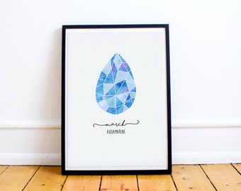 March Birthstone Print - Personalised - March - Aquamarine - Wall Art - Nursery Decor - Birthday Gift - Baby Gift - Nursery Wall Art