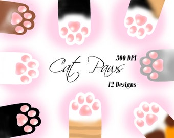 Adorable Cat and Kitten Paws Digital Clip Art Illustrations | 12 Designs in PNG JPG Format | Instant Download | Personal & Commercial Use