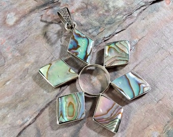 Vintage Paua Shell Abalone Sterling Silver Pendant with Diamond Shapes forming a Circle Natural Colors Greens Blues Pinks Browns Plus More