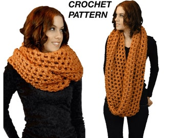 The Chunky Oversized Infinity Scarf Crochet Pattern,  PDF Download Pattern for The Super Easy and Quick Open Stitch Oversized Infinity Scarf