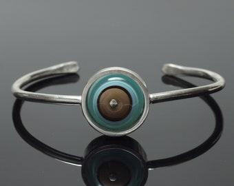 Bracelet Small Cuff Bracelet Brown and Pale Green Glass and Silver Bracelet, Everyday Bracelet Handmade by Kristin Perkins Simple bracelet