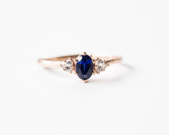 Chatham blue sapphire 14k gold twig ring, trillion oval three stone ring, blue sapphire engagement ring, 14k gold twig engagement ring