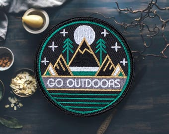 "Go Outdoors Hiking Patch | Sew On | Embroidered | Patches for Jackets | 2.75"" (Free Shipping US)"