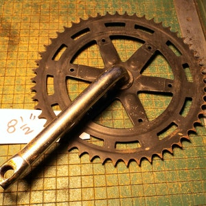 Bicycle Sprocket wall hanger, crusty, old bike parts, industrial, great for found art metal sculpture,