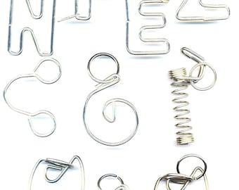 DESTASH  Craft Supplies . Edgy Letters Z E F N . Steampunk Puzzle . Monogram Jewelry . Typography Jewelry - Destash by enchantedbeas on Etsy