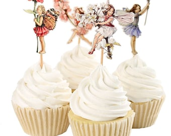 Set of 24 Pieces Fairy Flower Theme Party Decorative Cupcake Topper Girl Birthday Party