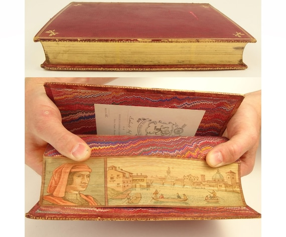 1866. Fore-edge painting example - Lorenzo de Medici and Florence. Medici's biography by William Roscoe. Harrow School prize binding.