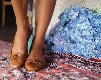 SALE. Sz. 8. PANAMA. Leather ballet flats / brown flats / women shoes / women flats / leather flats.