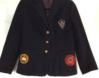 Vintage Prep School Girl's Academy Wool Blazer Navy Small