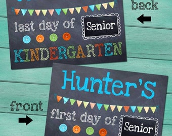 First and Last Day of (Junior/Senior) Kindergarten Personalized CHALKBOARD - Blue FL0006