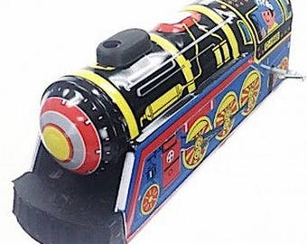 Vintage 60s Style Wind Up  Express Train Engine— Tin Toy Train —Built in Key New in Original Craft Box New