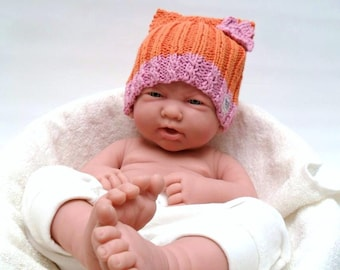 Orange Pink Baby Hat Photo Prop - Organic Cotton - Cat Beanie
