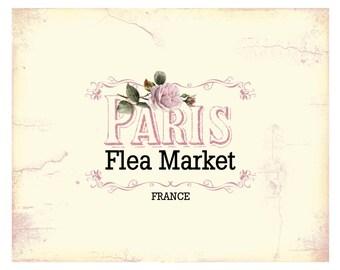 "Paris Flea Market Shabby Chic 8"" x 10"" Print -INSTANT Digital Download"