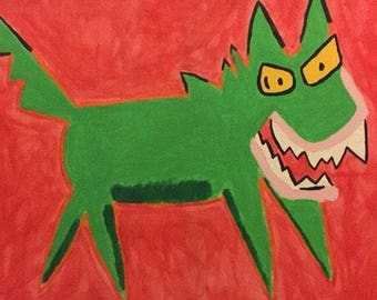 "Green Doggy-Dinosaur Monster Painting in ""Friends,"" Joey's Apartment Acrylic Replica (Hand-Painted)"