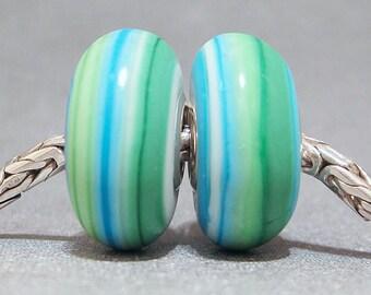 Blue & Green Handmade Stripe Lampwork Glass Beads Euro Bracelet Charm Bali Beach Pair