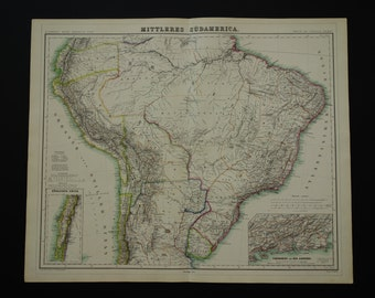Antique brazil map etsy brazil large old map of brazil 1874 original antique german hand colored poster about uruguay gumiabroncs Gallery