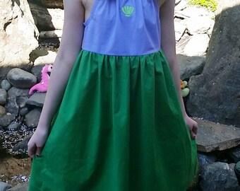 Ariel Dress - Little Mermaid Inspired Dress - Cotton Play Dress - Mermaid Dress - Ariel Disneybound - Girls Little Mermaid Costume