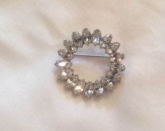 Pauline Trigere rhinestone circle pin vintage marquis stones rare unique designer jewelry collectible brooch Mother's Day gift for her