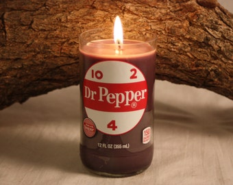 Upcycled Dr Pepper Soda Bottle Candle Scented in Dr Pepper Fragrance, Great Gift for Dr Pepper Lover, Perfect Birthday Gift, Unique Gift