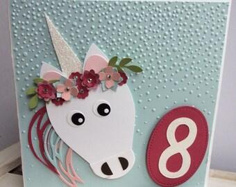 Unicorn birthday card, girl birthday card,  children's birthday, children' party, unicorn, sparkly unicorn.