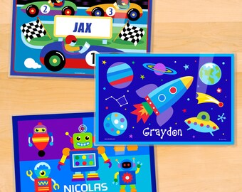 Olive Kids Personalized Boys Placemats, Laminated Mealtime Set of 3, Outer Space Placemat, Robot Placemat, Race Car Placemat, Great Gift