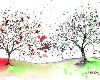We Meet, At Last...ACEO Art Print, of watercolor and ink illustration, FREE shipping