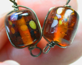 Vintage Glass Beads JAPANESE MILLEFIORI Amber Wire Wrapped 10mm pkg 2 gl340