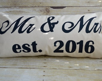 Personalized Mr. & Mrs. Pillow, Wedding Pillow,Wedding Pillow with Date,Wedding Gift Pillow,Bridal Shower Gift Pillow