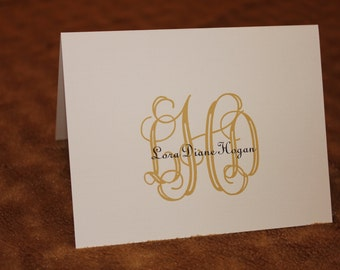 Personalized Note Cards - Stationary - Monogrammed - Black and Gold - Set of 12