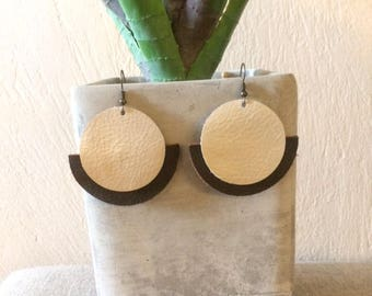 Art Deco Layered Leather Earrings