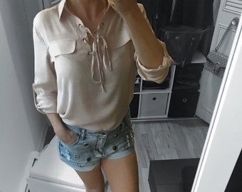 Taupe Beige Bottom Line Top