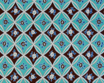 Jennifer Paganelli Sis Boom OOP Fabric for Free Spirit  -  Bell Bottom  -  Mary Trellis JP 10 in Turquoise/Brown  -  One Yard