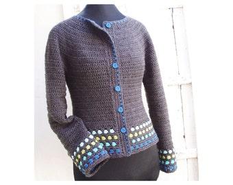Round Yoke Short Jacket  - Crochet Pattern - Instant Download Pdf