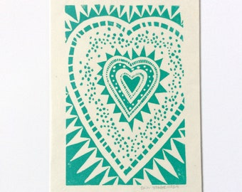 linocut - HEART // 5x7 art print // printmaking // block print // geometric // love art // original art // turquoise // blue green // 4x6