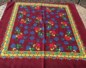 russian scarf Floral Vintage Ukrainian Romanian Shawl old Soviet Shawl romanian style women A perfect gift for her