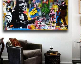 "Banksy  Street Art Collage ""The Duel"" Grafitti Canvas Print 36 x 20"