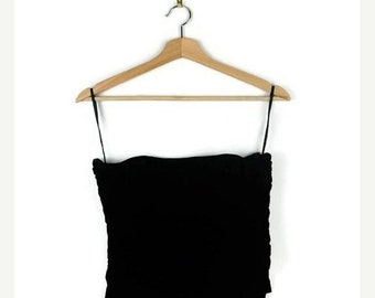ON SALE Ralph Lauren Black Velour Bare top /Tube top/Minimal/Minimalist