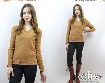 Light Brown Sweater Brown Knit 70s Sweater 70s Jumper 70s Knit 1970s Sweater Vintage 70s Light Brown Vneck Sweater S M Tan Sweater