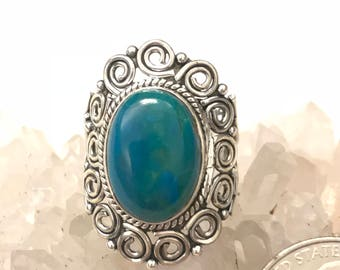 Genuine Peruvian Blue Opal  Ring, Size 8 1/2